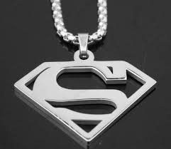 silver tone snless steel fashion superman pendant necklace rolo chain 3mm 24 women men gifts in chain necklaces from jewelry accessories on