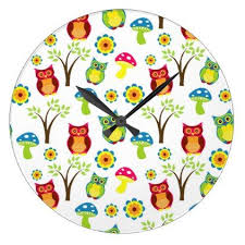 owl office decor. owl pattern wall clock - office decor custom cyo diy creative n