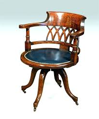 Antique Swivel Desk Chair Wood Office  Vintage Chairs Wooden S28