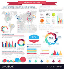 Sports Infographic Template Sports Infographic Template With Charts And Map Vector Image