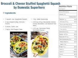 broccoli cheese stuffed spaghetti squash is only 314 calories per servings extremely delicious