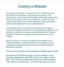 Website Project Proposal Template Cost Free Sample It