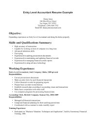Resume Objective Samples For Entry Level Objectives Accounting