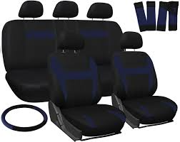 17pc set blue black auto car seat covers steering wheel belt pad head rests 1c