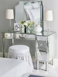 Mirrored Bedroom Vanity Mirrored Bedroom Vanity With Table Lamps And Round Backless Stool