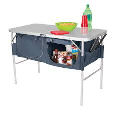 fold n half table with heat resistant top and storage bins direcsource ltd 100762 folding tables camping world