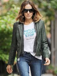 doma leather hooded biker jacket in bottle green as seen on sara jessica parker and ashley