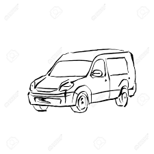 1300x1300 black and white hand drawn car on white background illustrated