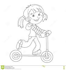 Small Picture Coloring Page Outline Of Cartoon Girl On The Scooter Stock Vector