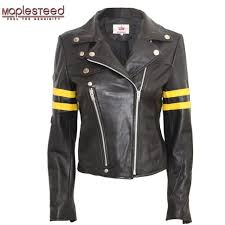 maplesteed womens leather jacket brand women real sheepskin jackets black slim female genuine leather coat biker