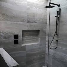 grey tiles shower niche ideas