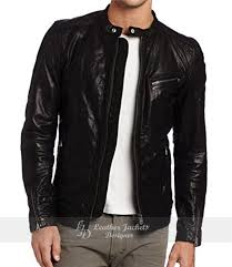mens jet black lamb wash motorcycle leather jacket front view