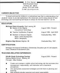 Elementary School Teacher Resume Gorgeous Objective For Teaching Resume Best Resume Collection