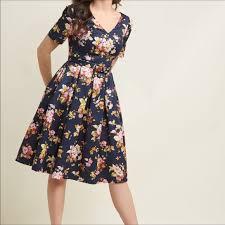 Modcloth Elegant Instance Fit And Flare Dress