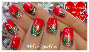 Christmas Nail Art | Red Holly Christmas Nails ♥ Рождественский ...