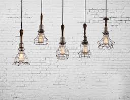 decorative pendant lighting vintage style lights edison bulb with wooden wire cage pendant light