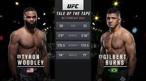 Fight: Gilbert Burns vs Tyron Woodley ...