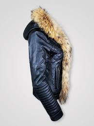demi leather jacket with long fur collar for women 1