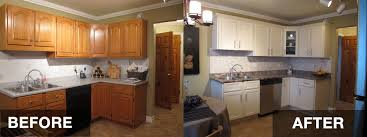 brilliant change kitchen cabinet color repaint to white and replace countertop marble in before after refacing