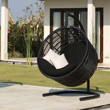 Furnitures:Creative Hanging Chairs For Exterior Design With Twice White  Pillow Decor Creative Hanging Chairs