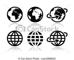 Globe Earth Vector Icons Set World Map Of Continents As Modern