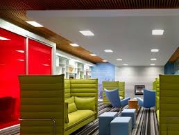 nice office design. i like the ceiling as a floating plane and use of color well graphics this corporate office design nice e