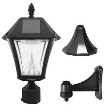 gama sonic baytown ii outdoor black resin solar post wall light with warm white