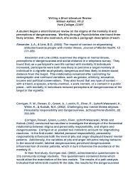 Literature Review In Apa Example Of Research Paper With Literature Review
