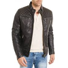 men s biker diamond quilted shoulder black leather jacket