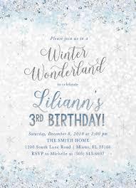 Snowflake Birthday Invitations Winter Wonderland Invitation Winter Wonderland Birthday