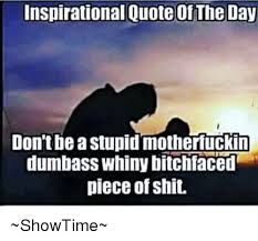 Dumb Inspirational Quotes Cool Inspirational Quote Of The Day Don'tbe A Stupid Motherfuckin Dumbass