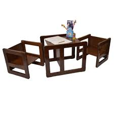 two in one furniture. 3 In 1 Childrens Multifunctional Furniture Set Of 3, Two Small Chairs Or Tables And One Large Chair Table Beech Wood, Dark Stained