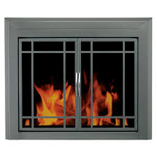 pleasant hearth ascot um glass fireplace doors at 1001 the home depot