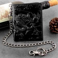 balck top quality mens leather vintage dragon wallet with chain card holder purse wallets wallets whole wallets male wallets from bag820
