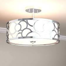 flush mount drum shade light fixture jolie chrome crystal semi chandelier lighting 3 agreeable