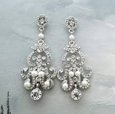crystal chandelier earrings bridal earrings chandelier statement wedding earrings art deco pearl crystal earrings wedding chandelier
