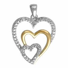elegant 0 03 carat two tone triple heart diamond necklace in 14k white gold plated 0