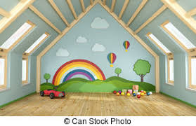 Attic drawing Illustration Playroom In The Attic With Toys And Decoration On Wall 3d Wcai Attic Illustrations And Clip Art 1610 Attic Royalty Free