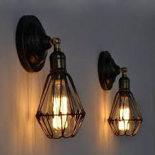 loft industrial iron cage. Industrial Wall Sconce Vintage Loft Iron Cage Home Bedroom Lamps Retro Bulb Sconces Canada E
