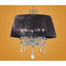 eglo 89034 diadema 5 light modern pendant crystal chandelier black organza shade chrome finish