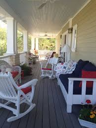Picturesque White Wooden Rocking Chairs And Cool White Wooden Long Chair  With Dark Blue Seat And  Front Porch ...