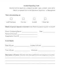 Police Incident Report Template Word Blank Sample Evidence Printable