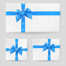 Blue Ribbon Design Gift Box With Blue Ribbon And Bow Stock Vector Image