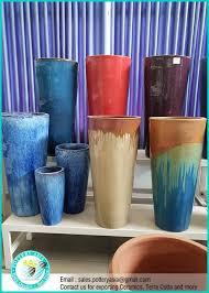 tall glazed ceramic garden pots