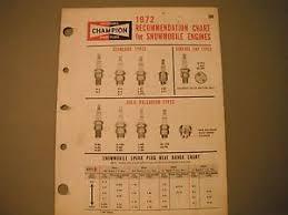 Details About 1972 Vintage Champion Snowmobile Spark Plug Recommendation Chart