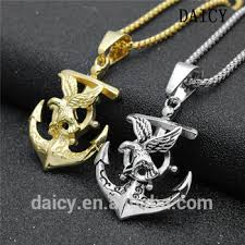 daicy men s punk eagle necklace nautical jewelry snless steel anchor pendant