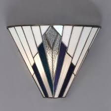 art deco wall light with white blue purple and clear glass