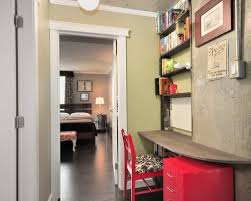 hallway desk furniture. Small Trendy Built-in Desk Dark Wood Floor Home Office Photo In Vancouver With Green Hallway Furniture N