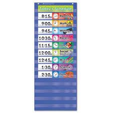 Daily 5 Pocket Chart Cards Scholastic Daily Schedule Pocket Chart 13 X 33 Blue Clear Shs511498