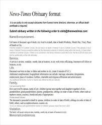 Newspaper Obituary Template 26 Free Obituary Templates